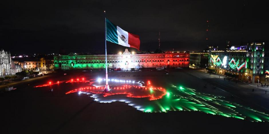 Iluminación del Zócalo, 15 de septiembre de 2020