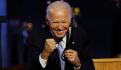 Joe Biden Presidente electo de EU, anoche en Delaware, tras su discurso de victoria.
