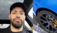 "VIDEO: ""Kun"" Agüero sufre accidente automovilístico: ""La con... de su madre"""