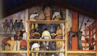 """Diego-Rivera-""""La fabricación de un fresco, mostrando la construcción de una ciudad"""""""