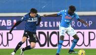 Una acción del duelo entre el Napoli y el Atalanta de la Semifinal de la Copa de Italia