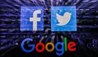 Logos de Facebook, Twitter y Google.
