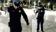 policia, oficial, arma, pistola, alameda, perro, animal