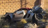 Futbolista del San Luis se estrella en su Porsche con su familia (FOTOS)