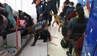 Con binomios caninos, policía municipal revisa mochilas en Torreón