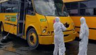 Por coronavirus, en Mérida desinfectan transporte público