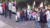 VIDEO: Taxistas golpean a repartidores de UberEats en Polanco