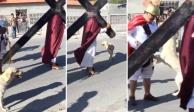 "VIDEO: Perro intenta defender a ""Jesús"" de azotes de los romanos"