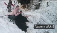 VIDEO: Dos cazadores matan a osa y crías mientras hibernan