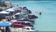 VIDEO: Marea alcanza a turistas e inunda sus vehículos en Sonora