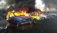 Arde corralón de la Fiscalía General de la República en Tlajomulco