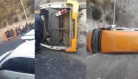 Volcadura de combi en la México-Pachuca deja 10 heridos