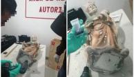 Detectan dos figuras religiosas hechas de metanfetamina en el AICM