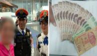 Policías devuelven 6 mil pesos a mujer en el AICM