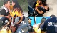 VIDEO: Mujer apuñala a su pareja; arrepentida, lo abraza y lo besa