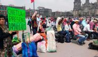 Con plantón en el Zócalo, damnificados exigen reconstrucción de viviendas