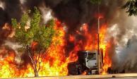 Tráiler sin frenos choca y se incendia en Morelos; reportan muertos y heridos