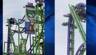 VIDEO: Montaña rusa en Six Flags de Texas se queda atorada con personas a bordo