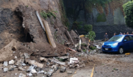 Lluvias provocan deslave de muro en el Residencial Insurgentes Sur