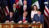 Firman Enrique Peña, Donald Trump y Justin Trudeau, T-MEC