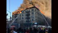 VIDEO: Gran incendio consume edificio en Manhattan