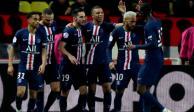 Jugadores del PSG en un partido de la Ligue 1