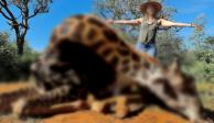 Mujer mata a jirafa y posa en fotos, asegura que de esa forma ayuda a los animales en extinción