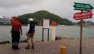 Elementos de Protección Civil realizan recorridos en playas de Colima, ayer.