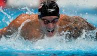El nadador, en una de sus últimas competencias.