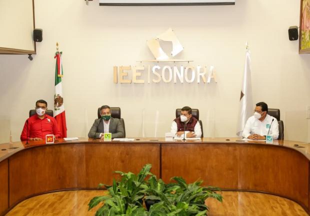 Morena, PVEM, PT y Nueva alianza presentan convenio de candidatura de Durazo por Sonora