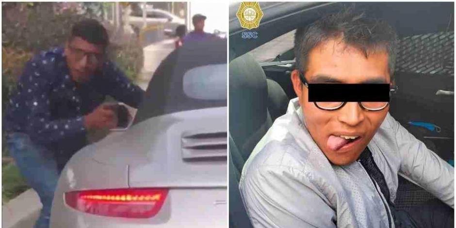 A la izquierda, el sujeto mientras comete un asalto; a la derecha, ya detenido