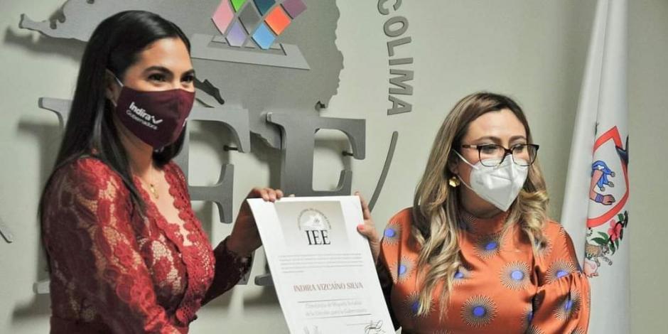 Indira vizcaino recibe constancia de mayoria