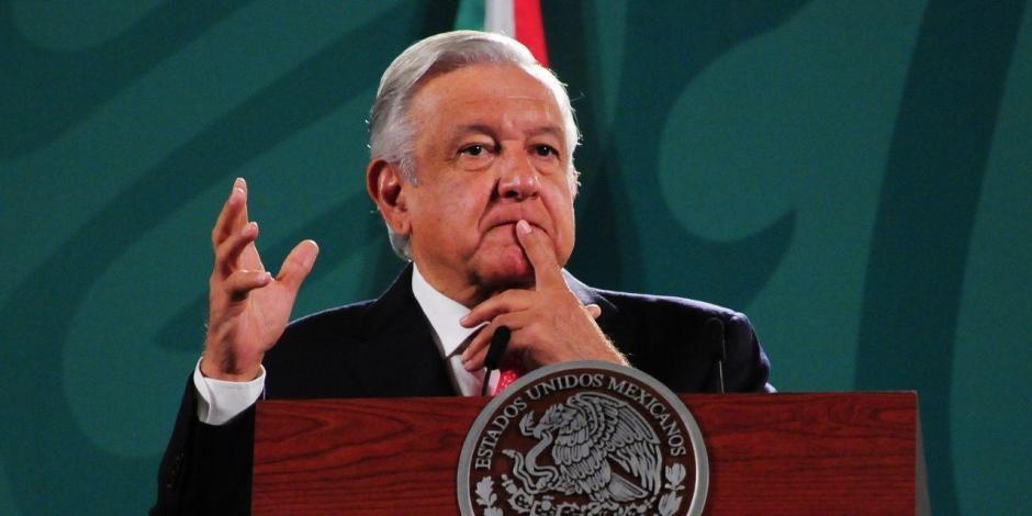 El Presidente López Obrador en conferencia matutina, este martes.