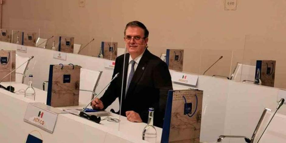 El canciller Marcelo Ebrard participa en reunión del G20.
