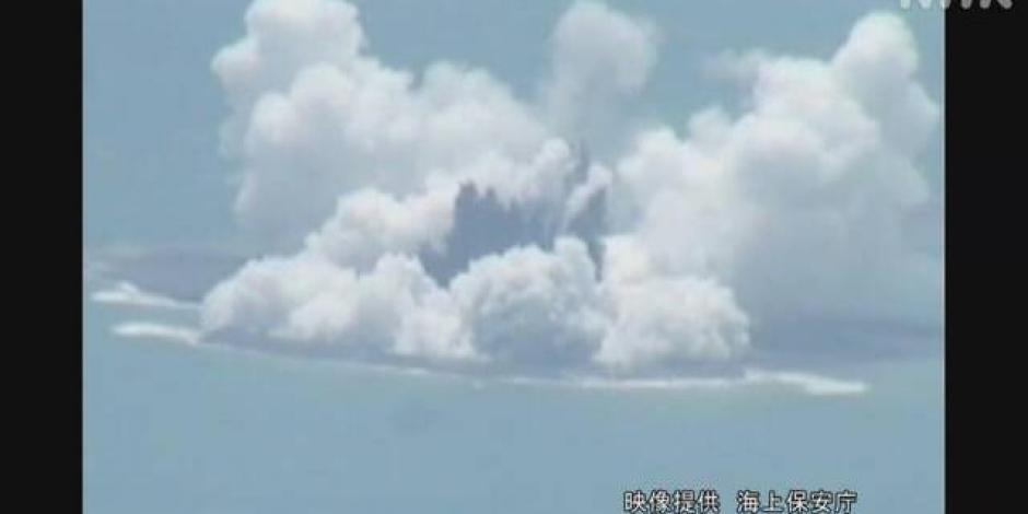 volcán submarino en erupción Japón