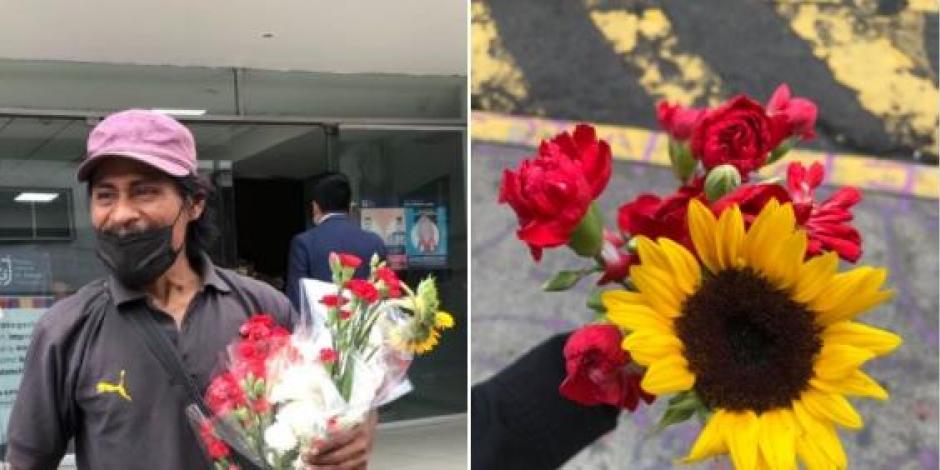 Padre regala flores afuera de Fiscalía CDMX porque encontraron a su hija desaparecida