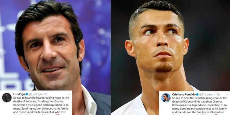 Cristiano Ronaldo y Luis Figo publican el mismo mensaje tras muerte de Kobe Bryant