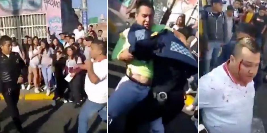 Taxistas contra policías, pelea campal en calles de CDMX (VIDEO)