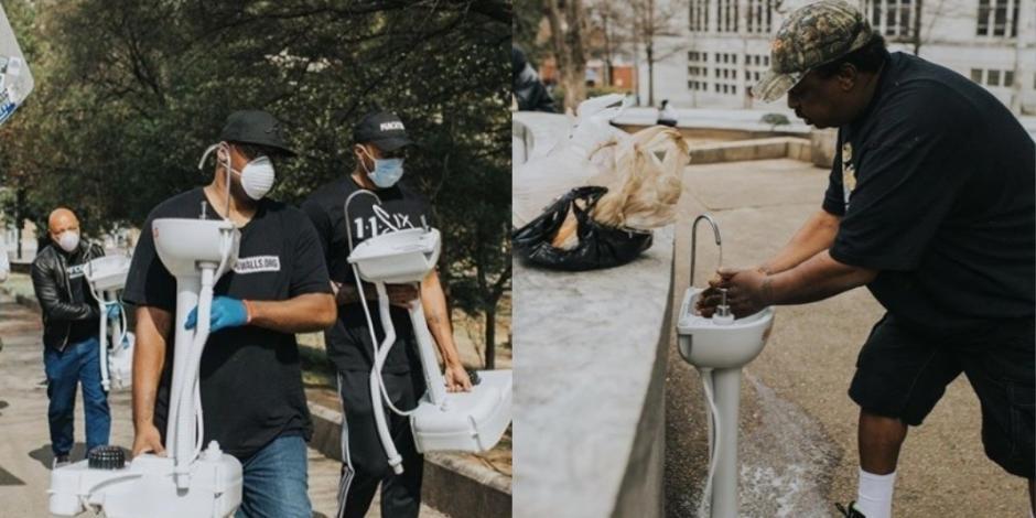 Joven crea lavabos portátiles para que gente sin hogar se laven las manos (VIDEO)