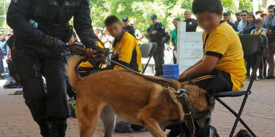 Con caninos y policías, aplican operativo