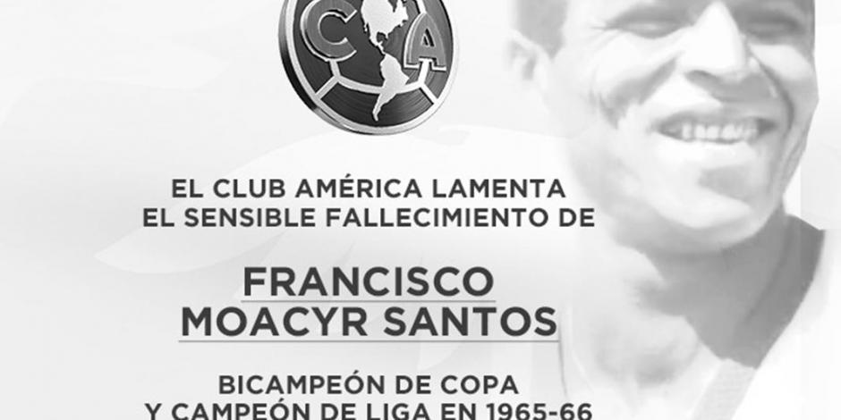 Muere exfutbolista, del América, Francisco Moacyr Santos