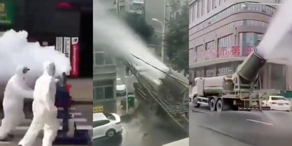 Inicia desinfección en China por posible contagio aeróbico de coronavirus (VIDEO)