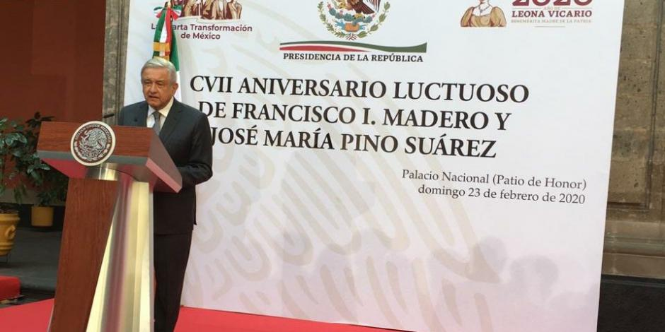 Gobierno actual ha retomado los ideales de Madero: AMLO