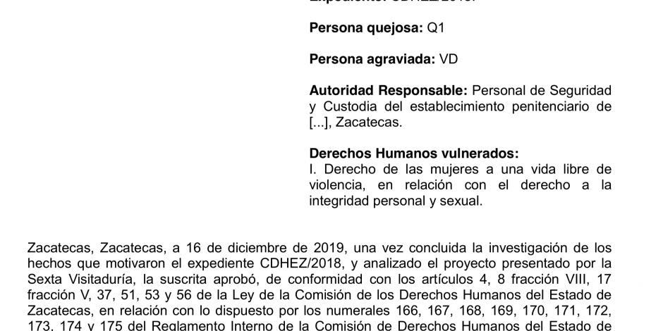 Recomendación de Derechos Humanos por violación a mujer en cárcel de Zacatecas