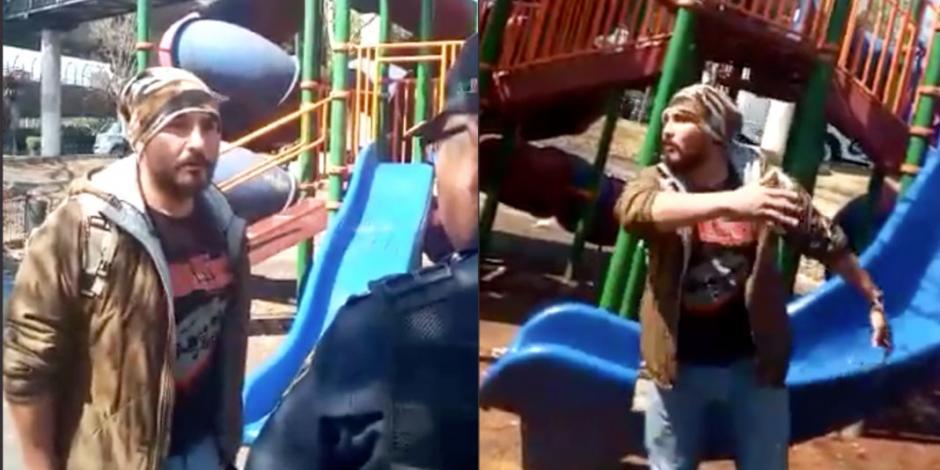 #LordChescos agrede a policía que resguardaba juegos infantiles (VIDEO)