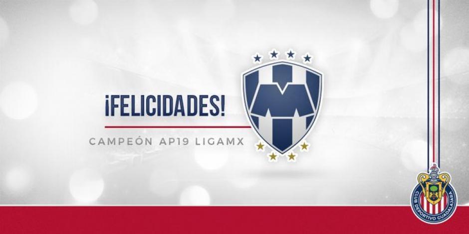 Equipos de la Liga MX felicitan a Monterrey; Chivas fue el primero
