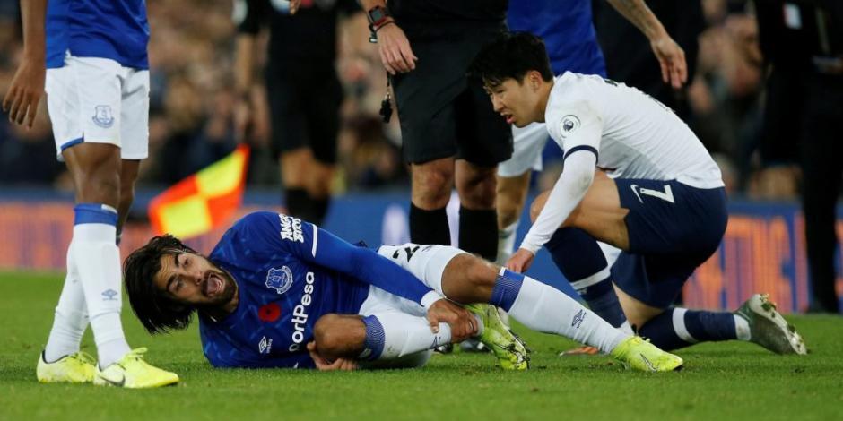 Son Heung-Min llora después de lesionar a André Gomes