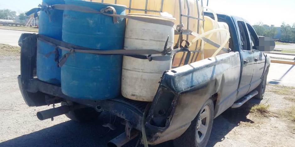 Aseguran 600 litros de hidrocarburo en Tamaulipas