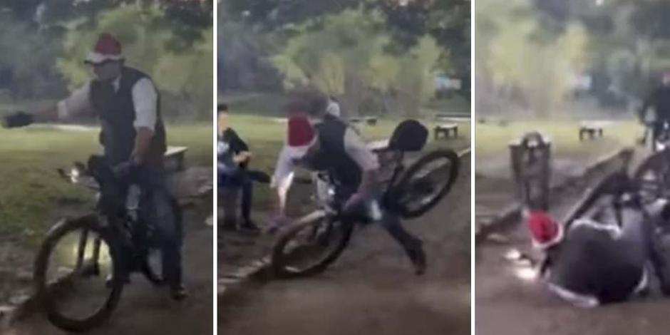 Épico: Alcalde de SLP cae de bici en festejo navideño y quedó grabado