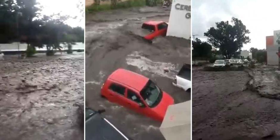 Tormenta desborda canal e inunda calles en Tlajomulco